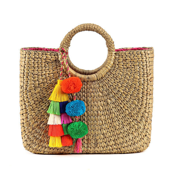 Basket Small Sq Tassel Pom Multi - Pre Order for May 15th - 30th