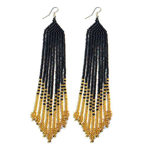 Tribal Earring Large Slim Black/Gold
