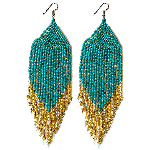 Tribal Earring Large Turquoise/Gold