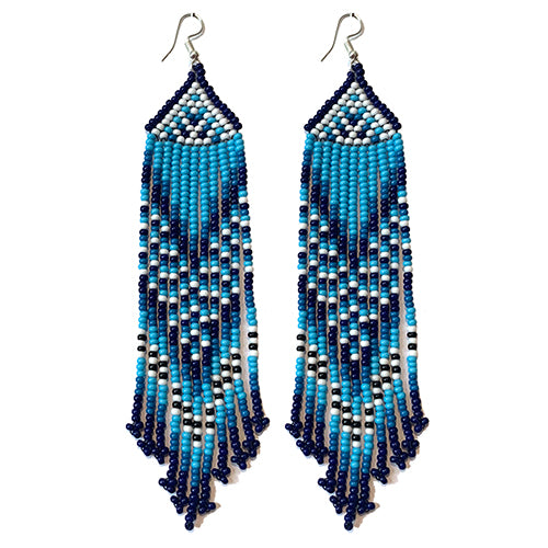 Tribal Earring Large Slim Indigo