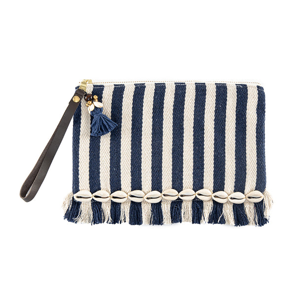 Valerie Raw Edge Wristlet with Shells Indigo