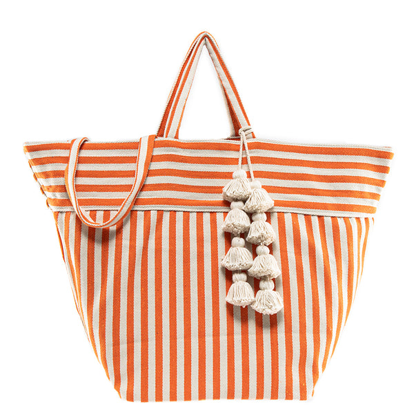 Valerie Beach Bag Organic Tassel Coral Pre Order for July 30th
