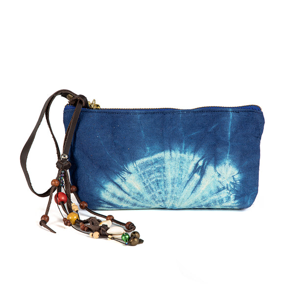 Tie Dye Beaded Charm Wristlet Indigo - Pre Order for May 15th - 30th
