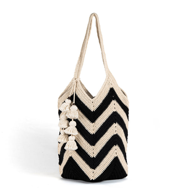 Maya Crochet Tote Black Wide Tassel