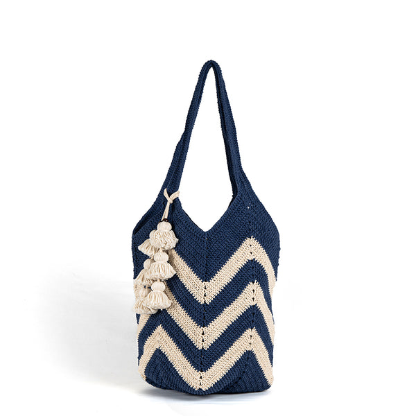 Maya Crochet Tote Indigo Wide Tassel - Pre Order for May delivery