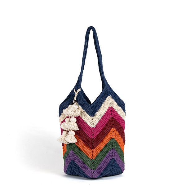 Maya Crochet Tote Multi Tassel - Pre Order for May delivery