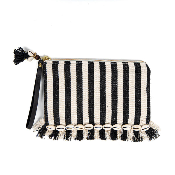 Valerie Raw Edge Wristlet with Shells Black