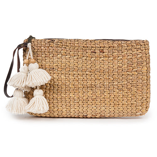 Basket Clutch Tassel Cream