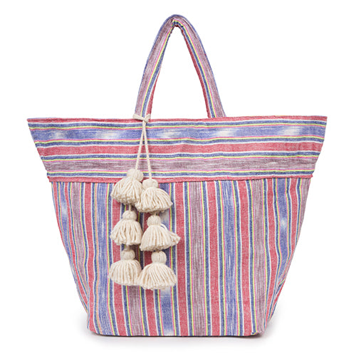 Samui Stripe Tote Red/Brown Organic Tsl Pom