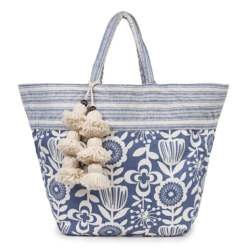 Atomic Floral S Tote Tassel Indigo Pre Order for June 15th