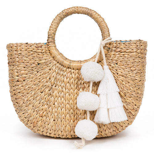 Mini Basket Tassel White
