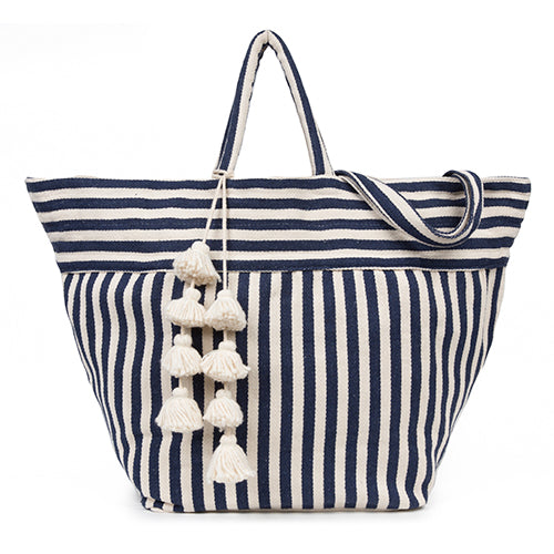 Valerie Beach Bag Organic Tassel Indigo - Pre Order for May delivery