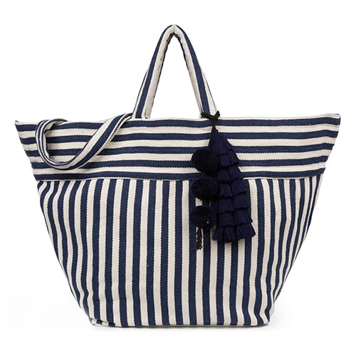 Valerie Beach Bag Tassel Indigo - Pre Order for May delivery