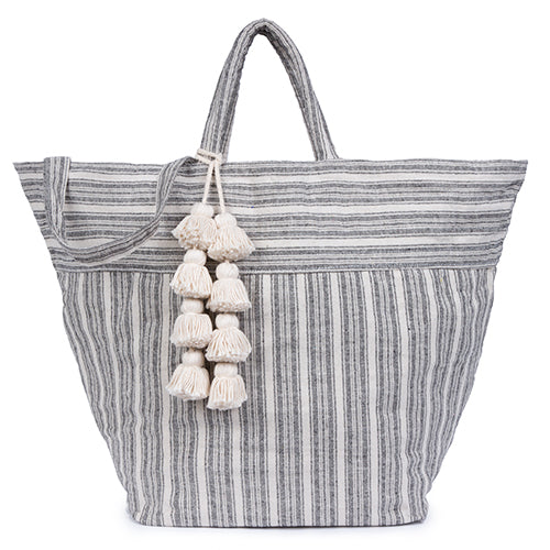 Sabai Beach Bag Organic Tassel Black