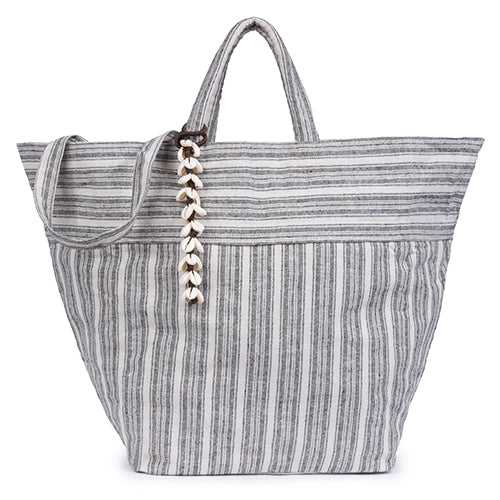 Sabai Beach Bag All Puka Shell Tassel Black