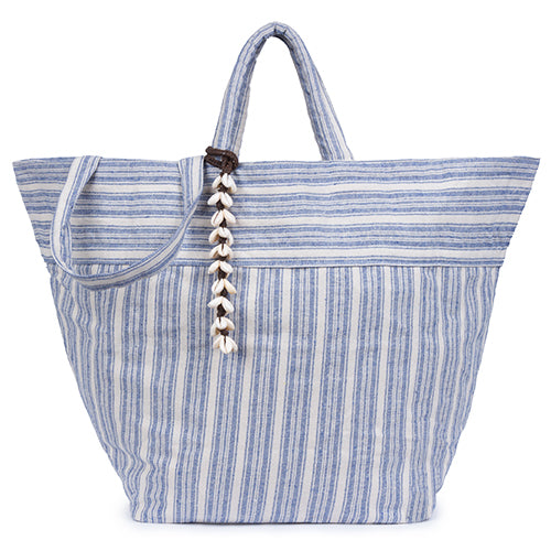 Sabai Beach Bag All Puka Shell Tassel Indigo
