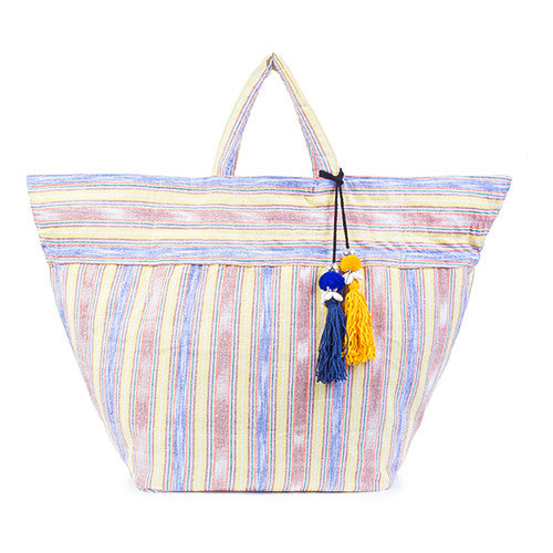 Samui Stripe Puka Tassel Beach Bag Yellow