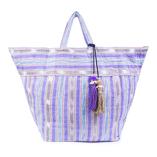 Samui Stripe Puka Tassel Beach Bag Purple