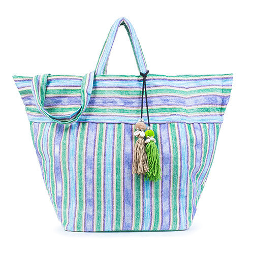 Samui Stripe Puka Tassel Beach Bag Green