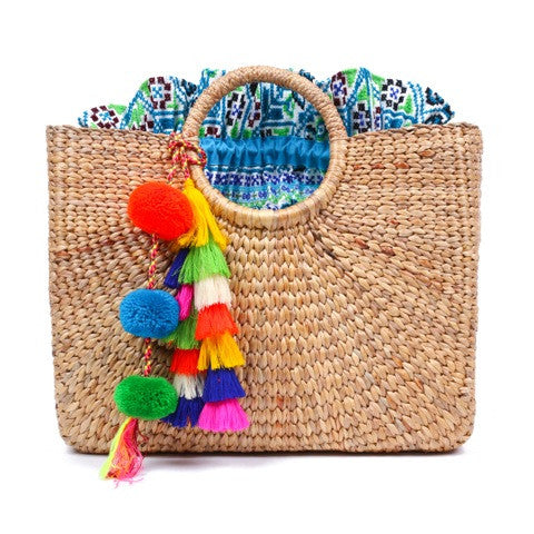 Square Basket Large Multi Tassel Blue