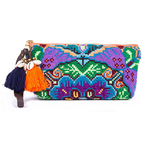 Eliz Neon Zip Puka Clutch Orange