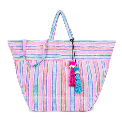 Samui Stripe Puka Tassel Beach Bag Pink