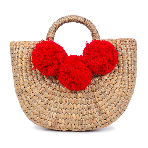 Basket Mini 3 Pom Red Pre Order for July 30th