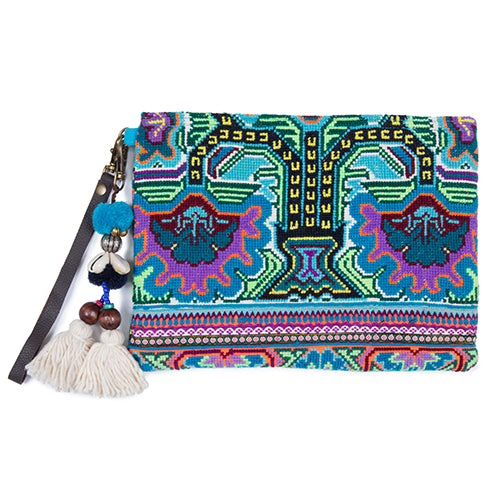 Elizabeth Pai Double Side Textile Clutch Blue