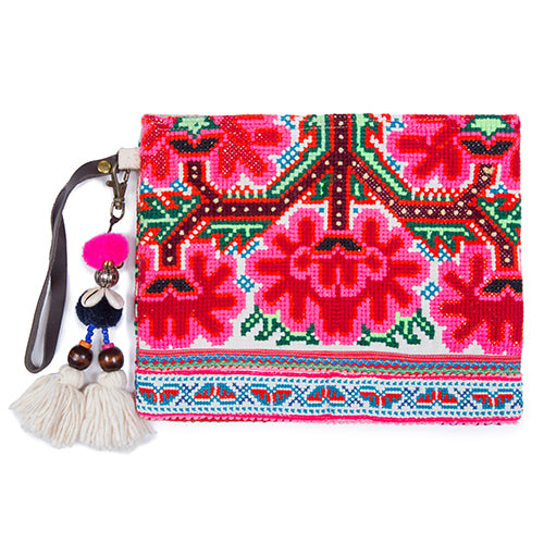 Elizabeth Pai Double Side Textile Clutch Pink