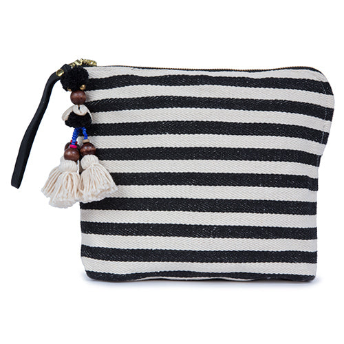 Valerie Zip Clutch Puka Pom Black Pre Order for June 15