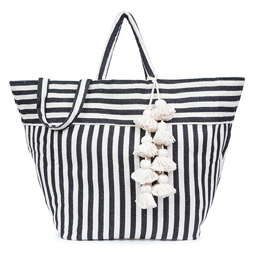 Valerie Beach Bag Organic Tassel Black