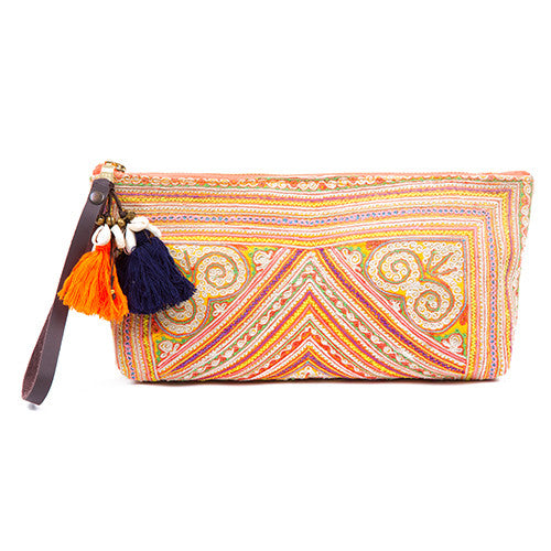 Charlotte Neon Zip Puka Clutch Orange