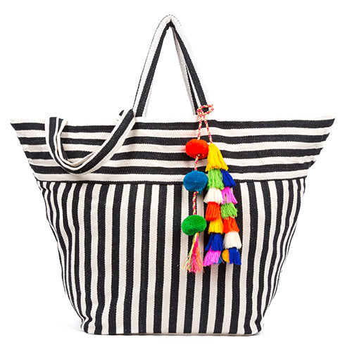 Valerie Beach Bag Multi Tassel Black Pre Order for July 20th