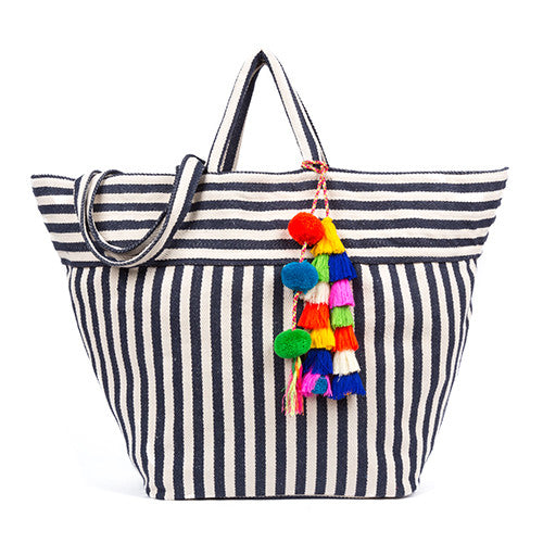 Valerie Beach Bag Multi Tassel Indigo Pre Order for July 20th