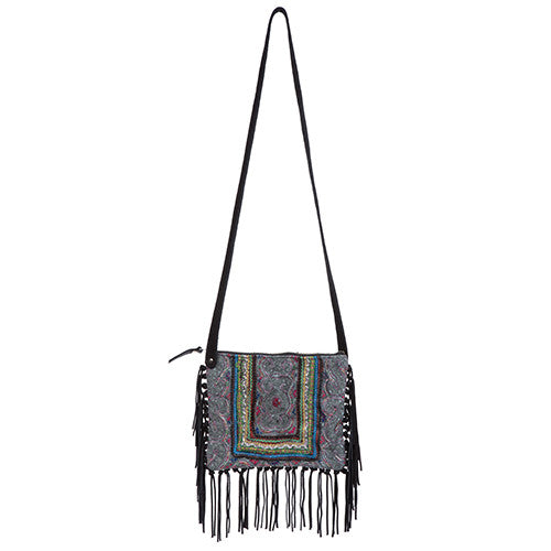 JADE Suede Fringe X body Black