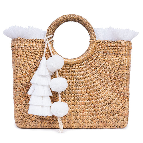 Basket Small Sq Fringe Tassel Pom White - Pre Order for May delivery