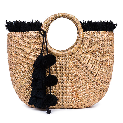 Beach Basket Fringe Tassel Pom Pom All Black
