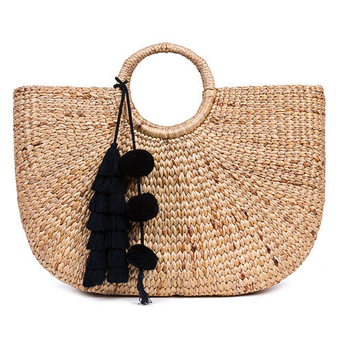 Beach Basket Large Tassel Black