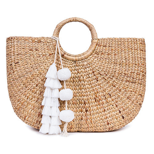 Beach Basket Large Tassel White