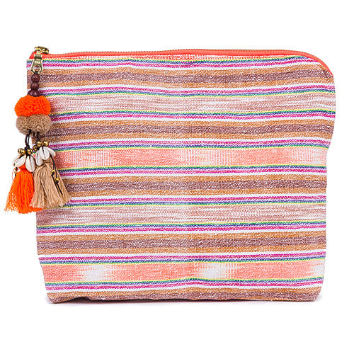 Samui Neon Zip Clutch Puka Tassel Orange