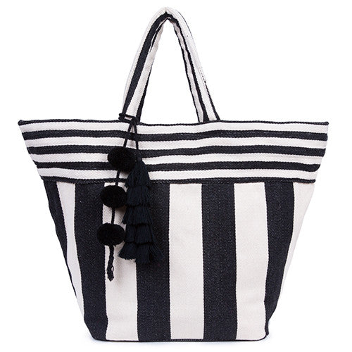 Valerie Wide Tassel Tote All Black