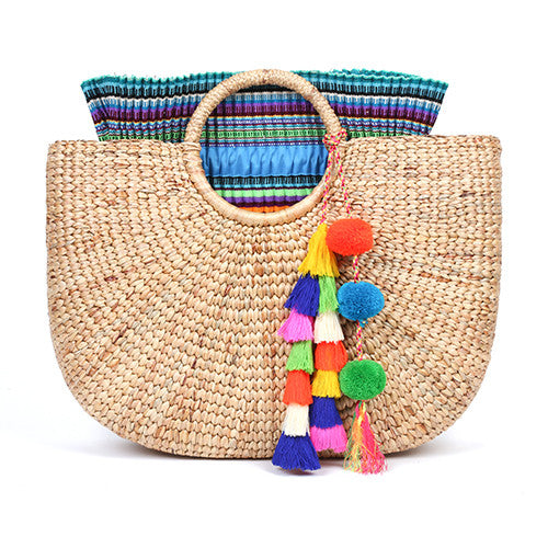 Beach Basket Large Tassel Multi/Blue