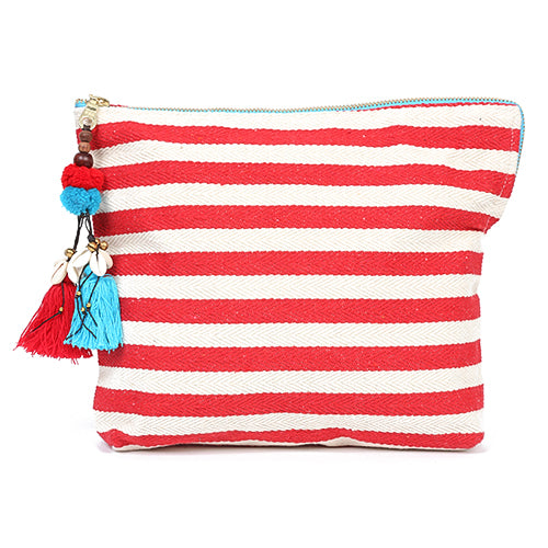 Valerie Zip Clutch Puka Pom Red/Turq