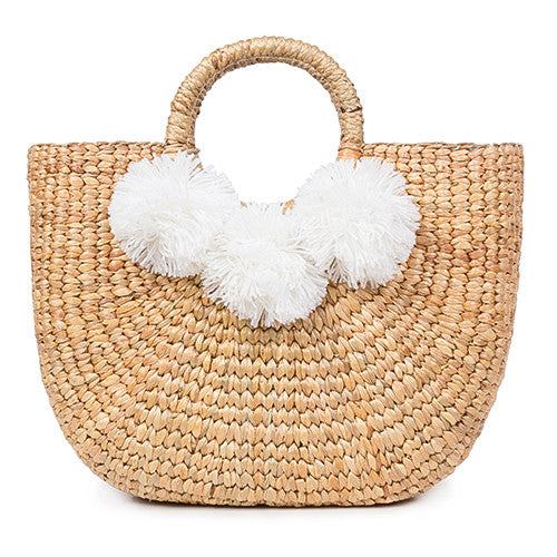 Beach Basket Small 3 Pom White
