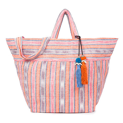 Samui Stripe Puka Tassel Beach Bag Coral