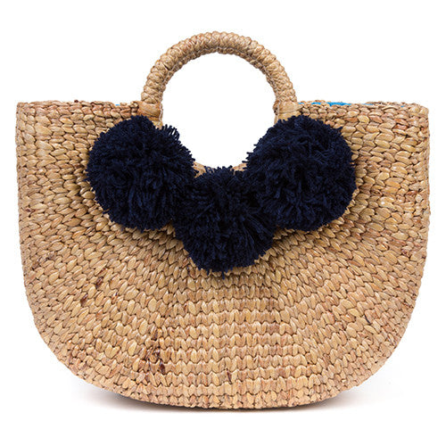 Beach Basket Small 3 Pom Indigo