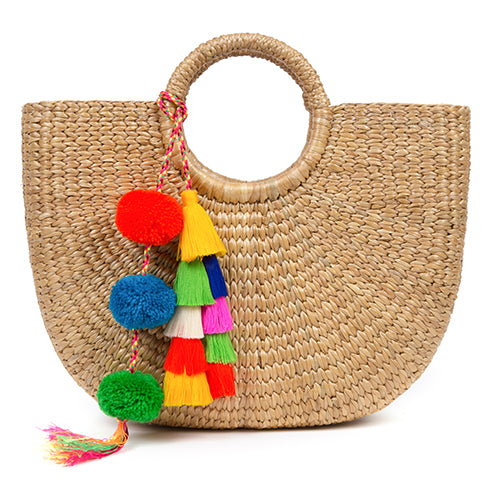 Basket S Tassel Pom Multi Pre Order for July 20th