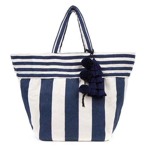 Valerie Wide Tassel Tote All Indigo