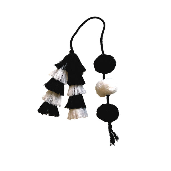 Tassel Pom Charm Small Black/White