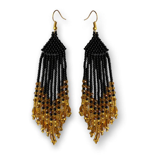 Tribal Earring Medium Black Gold